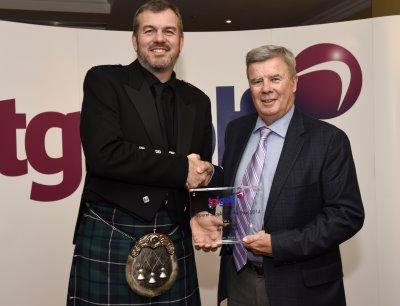 Bob Smith (right) from Peter Millar UK Ltd, with Michael Brooks, TGI Golf Partner at Malton & Norton Golf Club