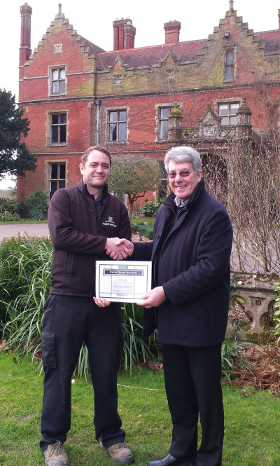David Mears (right), Highspeed Group's MD presents James Bonfield, course manager of the Hertfordshire Golf & Country Club with a certificate to mark the winning of a ClearWater system