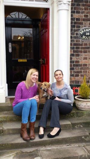 (from left) Emma Ballard, Bonny and Rachel Knapper outside the new offices