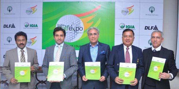 (from left) B. Suman, Joint Secretary, Ministry of Tourism, Govt. of India; Aakash Ohri, President, IGIA; Getambar Anand, President, CREDAI; Wg. Cdr. Arun K. Singh, Director General, Indian Golf Union; and Rishi Narain, MD, RN Golf Management during the Curtain Raiser of India Golf Expo 2015