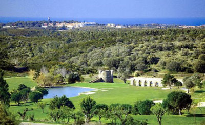 Penha Longa Championship Course with the iconic aqueduct and views of the Atlantic Ocean