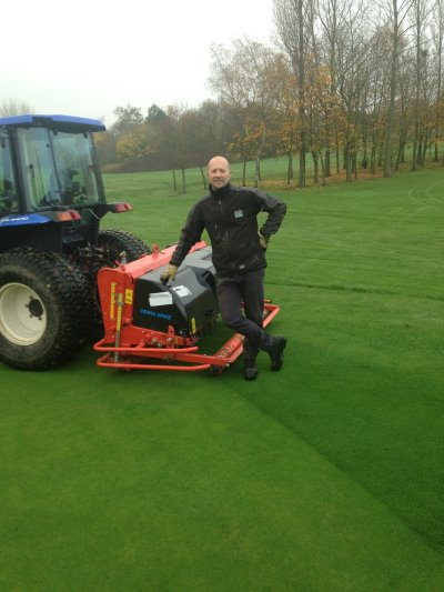 Ross Edmonds, Course Manager at Abbey Hill Golf Centre, Milton Keynes with his new Wiedenmann Greens Terra Spikes G160