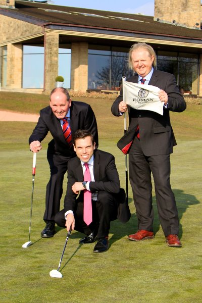 (from left): Andy Stubbs, Managing Director of the European Senior Tour; Ken Skates, Deputy Minister for Culture, Sport and Tourism; and Russell Phillips, Vice President of Facilities and Development at The Celtic Manor Resort
