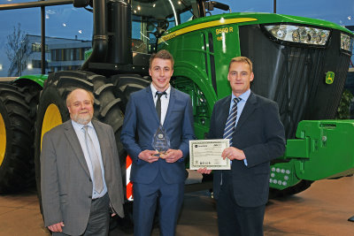 John Deere ag & turf apprentice of the year Alistair Baillie (centre) with Guy Schornig-Moore of Babcock and Richard Halsall of John Deere (left and right)
