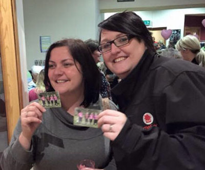 (from left) Beth Batham and Karla Wentworth, who were part of the Stafford Castle group, signing up to Ladies Love Golf on the launch night