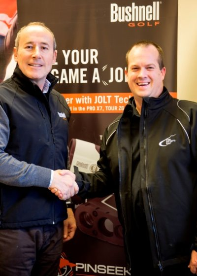Andrew Grose, Managing Director Bushnell UK, (left) agrees deal with Daniel Godding, PGA EuroPro Tour Director of Operations