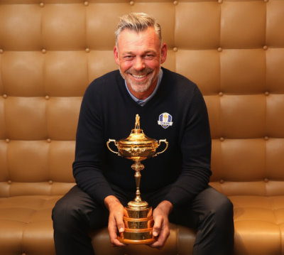 Darren Clarke with the newly reconstituted Ryder Cup Trophy