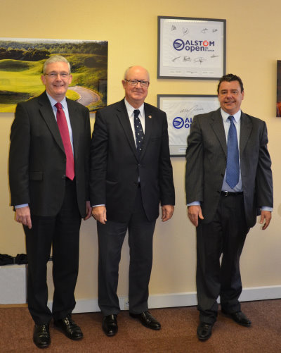 (from left) Alan Prickett of Ransomes Jacobsen; Jean Lou Charon, President of the FFG; and Laurent Proupin, Ransomes Jacobsen France