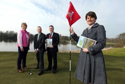 Minister Foster with Malone Golf Club lady captain Eleanor McKelvey; Tourism NIs Simon Wallace and Malone captain Peter Law