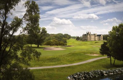 An impression of the Ury Estate - 1st Hole, with the Ury Mansion House in the background