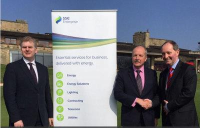(from left) Paul Williams, PR Manager The Celtic Manor Resort; Jim McPhillimy, Managing Director of SSE Enterprise, Andy Stubbs, Managing Director of the European Senior Tour