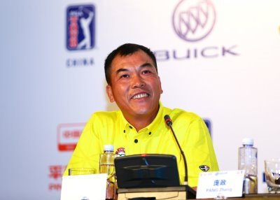 Chinese golfing legend Zhang Lianwei speaks to the media during the Buick Open press conference at Mission Hills Haikou in China (photograph Liu Zhuang/COSI)