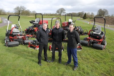 Club owner Andrew Vaughan (centre), with course manager Matt Shimwell (right) and Peter McGreevy from Cheshire Turf Machinery, standing with High Legh Park Golf Club's new Toro fleet