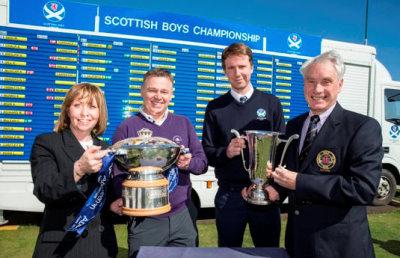 (from left) Angela Leitch Chief Executive East Lothian Council; Jacky Montgomery Director of Golf Dunbar Golf Club; Daniel Sommerville Events Manager, SGU; and Gael Pollitt Captain Dunbar Golf Club