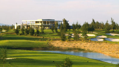 The clubhouse at Montgomerie Links from the course