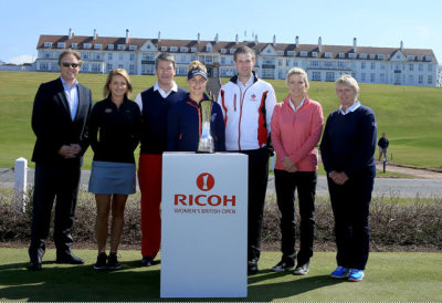left to right: Ross Hallett, IMG Tournament Director; Amy Boulden, 2014 LET Rookie of the Year; Bart Somsen, Brand Strategy Manager, Corporate Marketing Ricoh Europe; Charley Hull, winner of the 2014 LET Order of Merit; Eric Trump, Executive Vice President Trump Organisation; Mel Reid, Trish Wilson, LGU Chairman. (Getty Images)