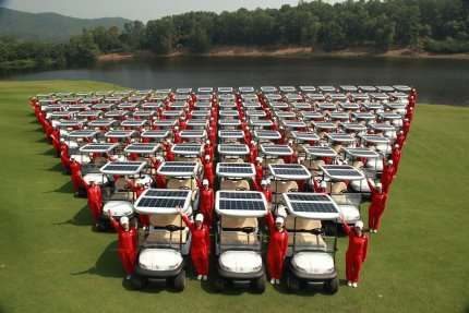 Solar powered golf carts