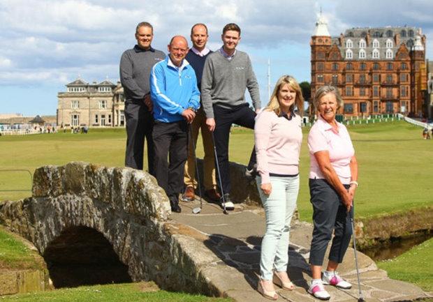 Ross MacKenzie, Fife Council, Liam Barn, mid left Stephen Owen Chair of Fife Golf Partnership, Johnathon Dunbar, Links Trust, front left Ann Camus, Fife Tourism Partnership, front right is Pam Smith, Crail Golfing Society