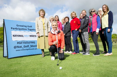 Carin Koch (front), Kate Hoey MP (left) and the ladies of Wimbledon Common Golf Club launch National Golf Month