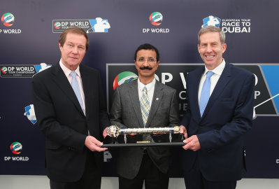 George O'Grady, Chief Executive of the European Tour, His Excellency Sultan Ahmed Bin Sulayem, Chairman of DP World and Keith Waters, Chief Operating Officer and Director of International Policy at the European Tour