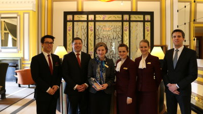 Paul Heery (General Manager, second from left) with some of the Guest Relations team and the award
