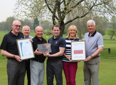 Officials from Howley Hall receive the GolfMark and Sport England awards from Yorkshire County Development Officer Tom Freeland. (from left) Colin Roberts (immediate past Captain); David Jones (Secretary/Manager); Stephen Bestwick (President); Tom Freeland; Alison Mowat (Lady Captain) and Stuart Johnson (Captain)