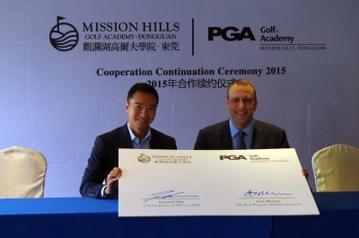 Tenniel Chu, left, with Guy Moran from The PGA