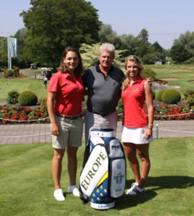 Karolin Lampert and Sophia Popov, GC St. Leon-Rot members and former PING Junior Solheim Cup players together with Mr. Hopp