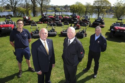 (from left) course manager Gwynn Davies, The Mere's Chairman Gary Corbett, Lely UK's Nigel Lovatt and Cheshire Turf Machinery's Peter McGreevy, with The Mere's new Toro fleet