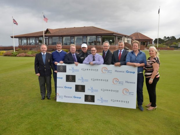 Paul with representatives from Founding Highland Sponsors: (from left) Malcolm Jones (Captain The Nairn Golf Club), Fraser Cromarty (CE0 The Nairn GC), David Dowling (MD, Cairngorm Group), Paul Lawrie, Chris Dowling (Director, Cairngorm Group), Kevin Hawco (Hawco Group), Allan McGuire (Group Ops Director, Hawco), Fraser Fotheringham (Clubhouse Hotel), Janet Fotheringham (Clubhouse Hotel)