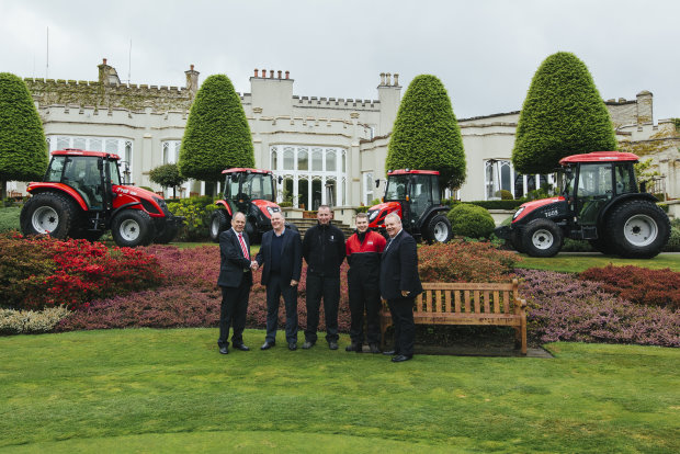 (from left) Jeff Anguige, Lely UK, Kenny MacKay, course manager and golf director, Nikki MacLennan, head mechanic, Gavin Sinclair, assistant mechanic and Trevor Chard, Lely UK, with the Wentworth's new TYMs