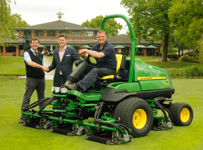 (from left) Branston's new fairways mower being delivered by James Robson (area sales manager John Deer main dealer Henton & Chattell); Richard Odell (Branston Golf & Country Club director of golf); Gavin Robson (course manager Branston Golf & Country Club).
