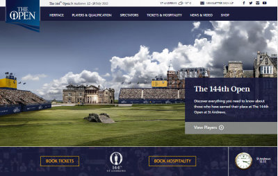Open Golf website home page