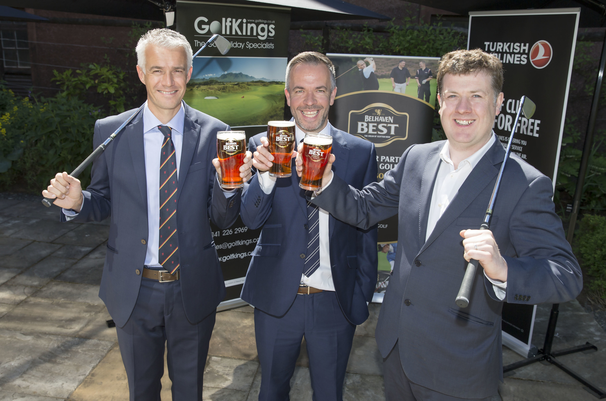 Pictured at the announcement were Ross Duncan (SGU Marketing & Sponsorship Manager) Graham Baird (Sales Director, Belhaven) and Neil McRae (GolfKings)  (Kenny Smith, Kenny Smith Photography)
