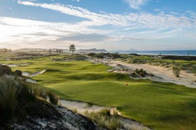 The reachable par-4 7th at Tara Iti Golf Club on New Zealand's North Island