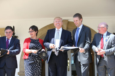 TrumpTurnberry clubhouse from left: Chic Brodie, Eileen Howat, Donald J Trump, Eric Trump, Clive Douglas