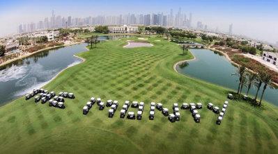 Thenew fleet of Club Car vehicles spells 'The Monty' at The Address Montgomerie Dubai