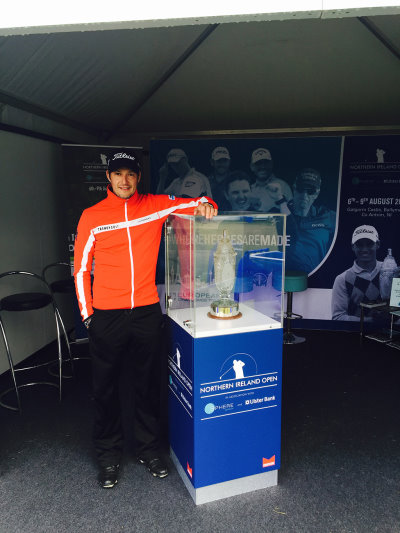 Newcastle's Simon Thornton with the Northern Ireland Open trophy, in association with SPHERE GLOBAL and Ulster Bank, during the 2015 Irish Open at Royal County Down