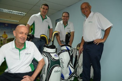 Mark Siegel (right) with Jim Mullett (sitting), Marco Scopetta and Pascal Orczech in the company's Bangkok head office