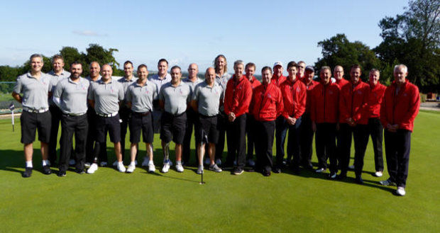Battle Back golf team, captained by Keith Davies, (in grey) pictured with the Battle Pack Team captained by Andrew Brown of Toro (in red)
