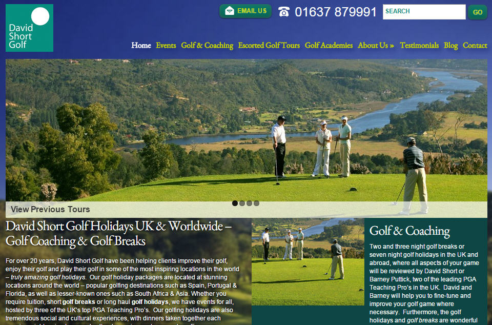 David Short Golf website