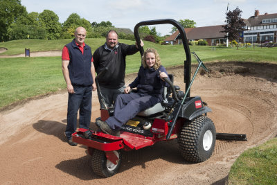 Course manager Jim Gilchrist, Lely's area sales manager Jon Lewis and greenkeeper Vicky Cavinue sat on Harborne Golf Club's new Toro Sand Pro 2040Z mechanical rake