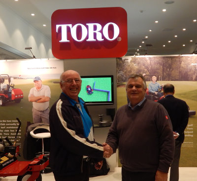 President SAGCA - Ted Parslow, left, shakes hands over a long term deal with Managing Director Toro Australia - Richard Walne