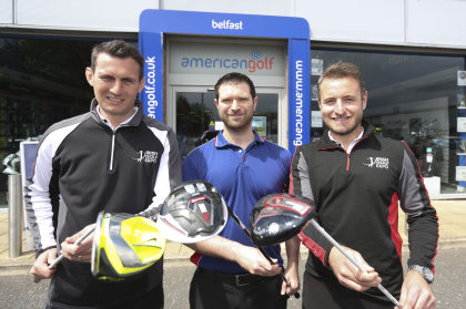 rish Golf Expo founders Stewart Kyle and Paul Shaw announce the event's support of Europe's largest golf retailer American Golf with Peter Matchett from the flagship store on Boucher Road