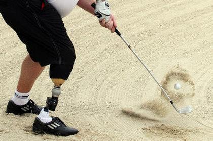 Disabled golf bunker shot