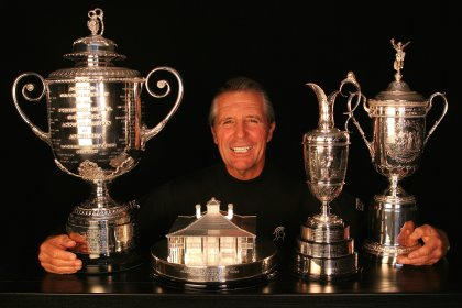 Gary Player and trophies
