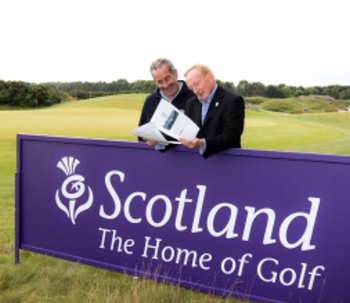Visit Scotland Chairman Mike Cantlay and 2014 European Ryder Cup Vice Captain Sam Torrance launch the 2014 Ryder Cup Economic Benefits Study during Prostate Cancer UK Scottish Seniors Golf at Archerfield, East Lothian, Scotland : Picture Stuart Adams, www.golftourimages.com: 8-Jul-15