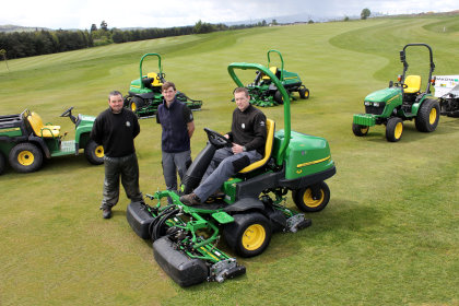 Deputy manager Matt Baird (seated right) with greenkeepers Daniel Lang (centre) and Ryan Stenhouse, and some of the new John Deere machines at SRUC Elmwood Golf Course.