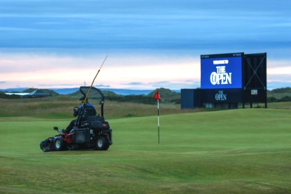 Toro mower out on The Old Course during The Open (courtesy of official St Andrews Links photographer Kevin Murray)