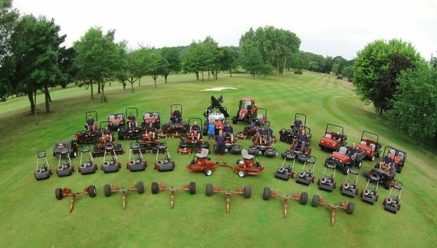 Aerial shot of the new Toro fleet at Foxhills Country Club & Resort. Course manager David Wyborn stands forefront